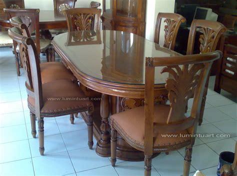 kursi meja makan salina gendong padi kayu jati ukiran