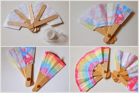 How To Make A Paper Folding Fan - make a folding popsicle stick fan pink stripey socks