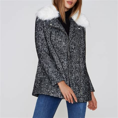 Faux Fur Collar Coat black tweed faux fur collar biker coat coats jackets