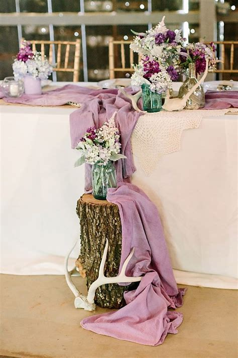 Purple Wedding Decor by Swoon Worthy Rustic Chic Purple Wedding Decor Mon Cheri