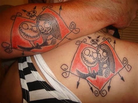 nightmare before christmas couples tattoos 12 coolest matching tattoos matching tattoos matching