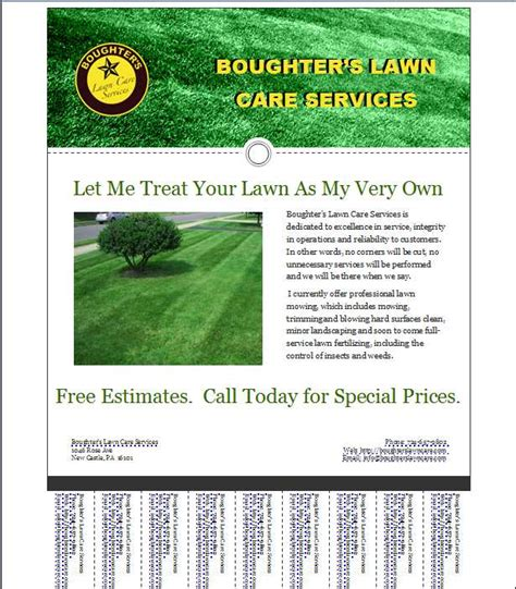 free printable lawncare card templates free lawn care business flyers