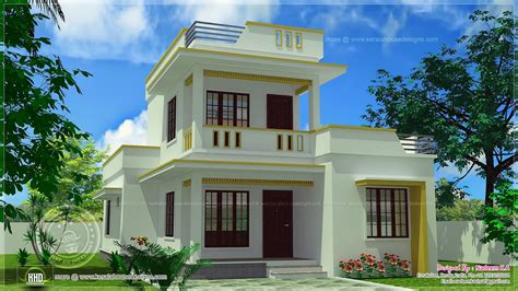 simple flat roof home design in 1305 sq kerala