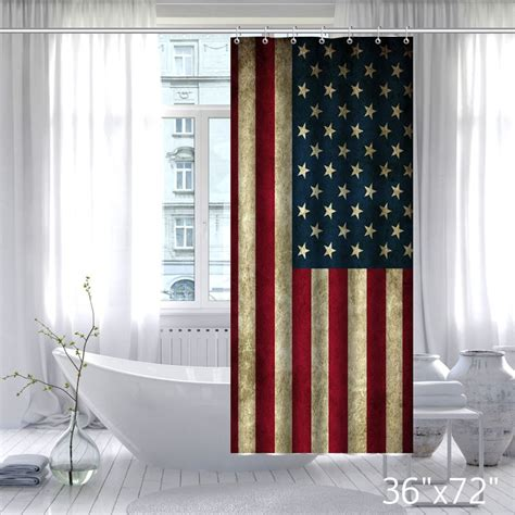 Vintage Usa Flag Fabric Custom Bathroom Shower Curtain Custom Bathroom Shower Curtains
