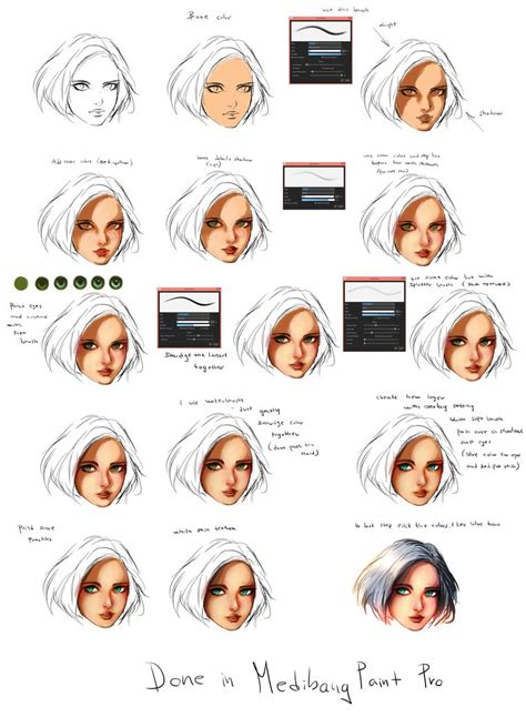 line art hair tutorial face coloring tutorial by ryky on deviantart