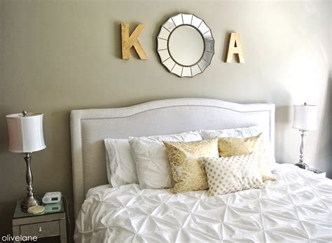 olive lane master bedroom update gold white