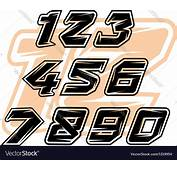 Racing Sports Numbers Royalty Free Vector Image