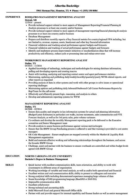management reporting analyst resume sles velvet