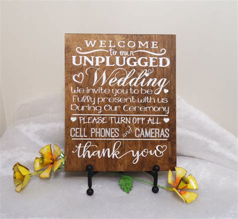 wedding ceremony welcome sign welcome to our unplugged wedding sign by craftywitchesdecor