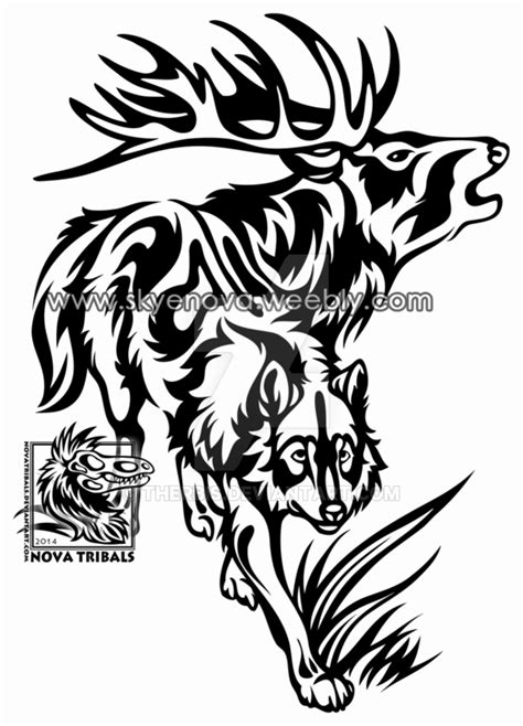 tribal elk tattoos wolf and elk tribal by therbis on deviantart