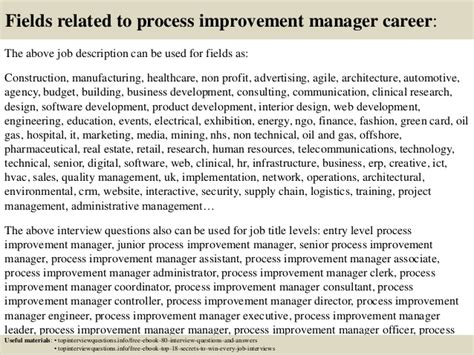Competency Based Resume Sample by Top 10 Process Improvement Manager Interview Questions And