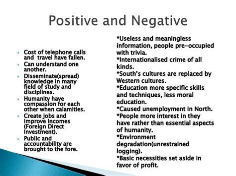 postive and negative impact of globalisation on the caribbean Globalization and its effect on cultural diversity the negative impact of globalization on takes a positive or negative view of globalization's.