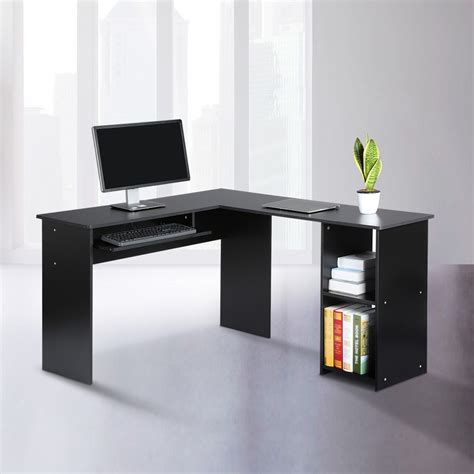 corner shelf desk l shaped computer desk pc corner table w keyboard shelf