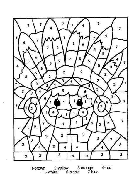 turkey coloring page color by number coloring pages indian color by numbers jpg thanksgiving