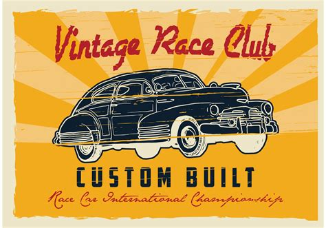 Poster Auto by Poster Cars Retro Free Vector Stock