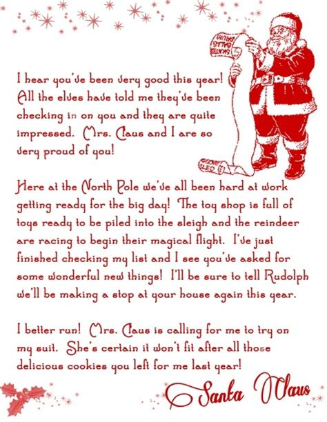 personalized letter from santa claus printable letter from santa christmas printable free holiday pins