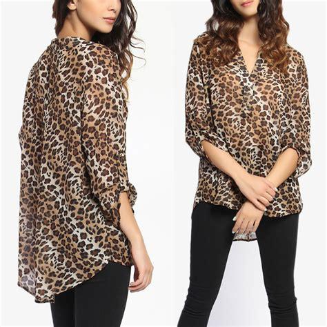 41hawthorn Animal Print Blouse by Themogan Plus Size Leopard Print 3 4 Sleeve Henley Shirt