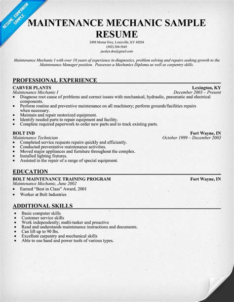 Maintenance Mechanic Resume by Resume For Engineer Free Engine Image For User