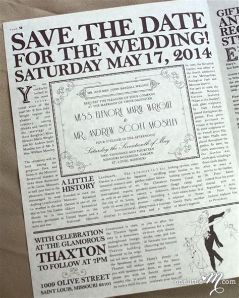 newspaper themed wedding invitation the daily proposal 1920s themed vintage newspaper wedding