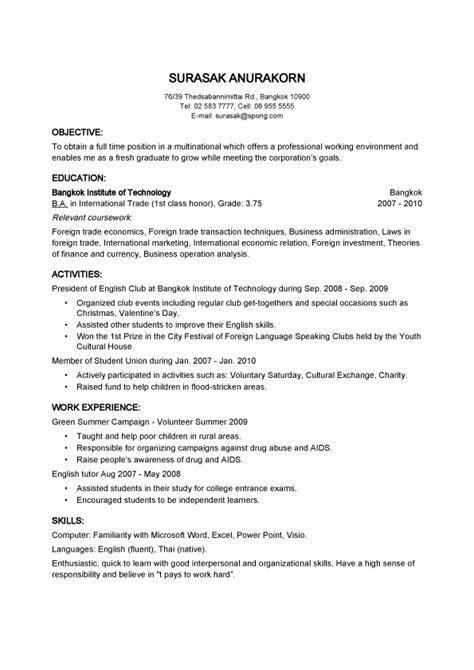 resume template thailand objective basic resume sles for thailand employer
