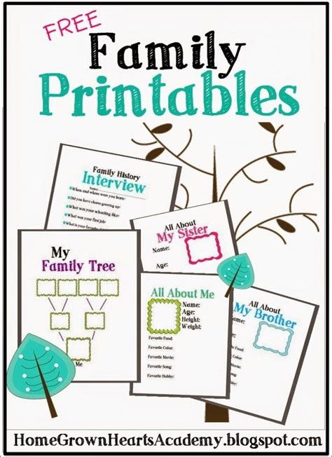 printable family tree pages free family printables