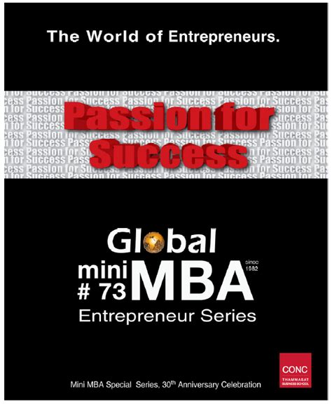 Entrepreneur Mba by Thammasat Global Mini Mba 73 Entrepreneur Series Mba