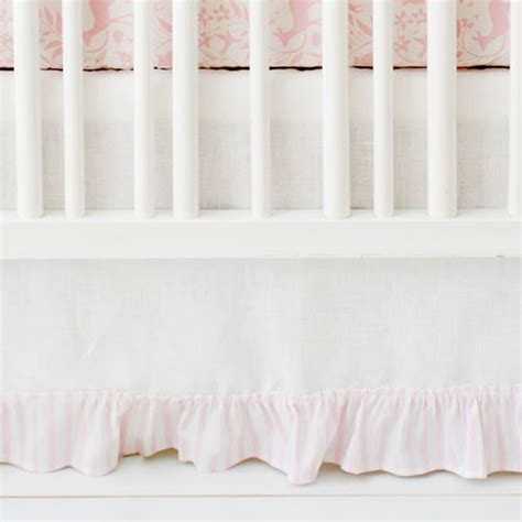 pink and white crib skirt tailored crib skirt with pleat