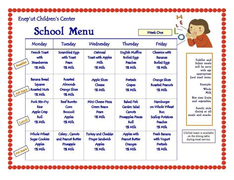 daycare menu templates usda menu template related keywords usda menu template