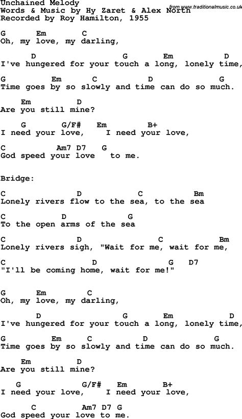 melody lyrics song lyrics with guitar chords for unchained melody roy