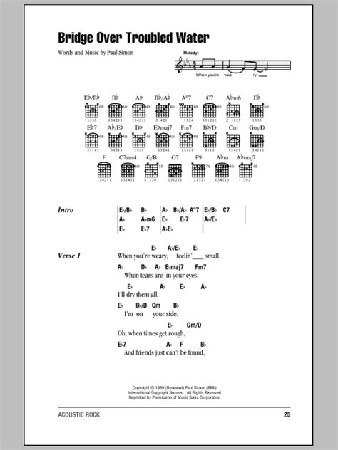 strumming pattern when you re gone bridge over troubled water sheet music by simon