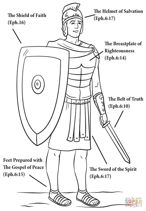 Whole Armour Of God Coloring Pages armor of god coloring sheet sketch coloring page