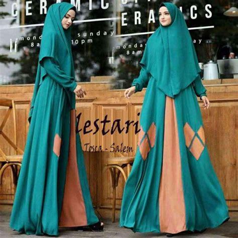 Baju Muslim Syari India baju lebaran syari lestari toska salem model baju gamis