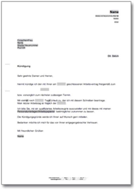 Vorlage Kündigung Arbeitsvertrag Mit Resturlaub K 252 Ndigung Arbeitsvertrag At Musterbrief