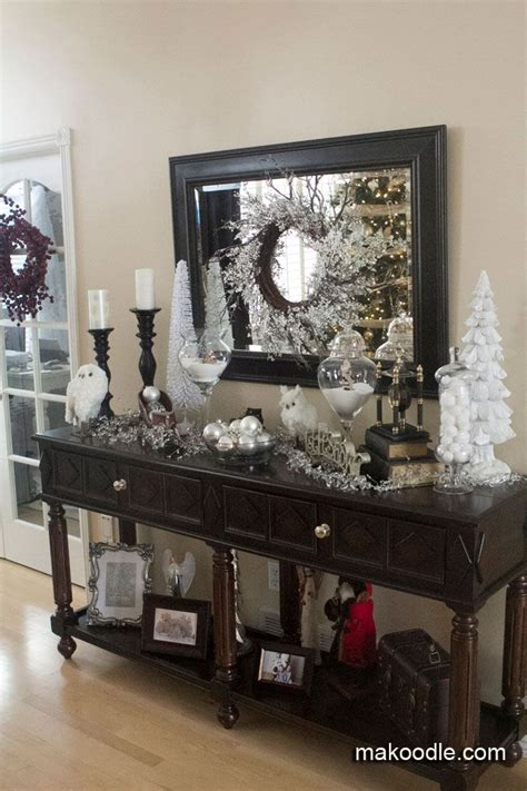 christmas decor  entryway table large candlesticks
