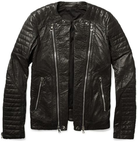 padded leather motorcycle jacket lyst balmain zipped padded leather biker jacket in brown