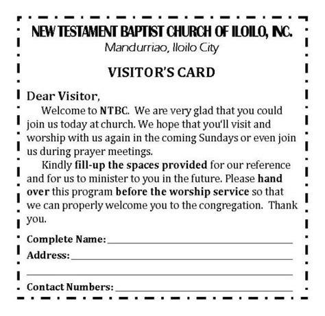 church visitor card template word church visitor card template word 5 best professional