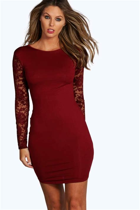 Bodycon Dress susie lace sleeve bodycon dress at boohoo