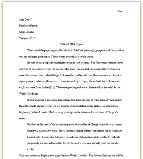 mla  edition paper formatting note essay words