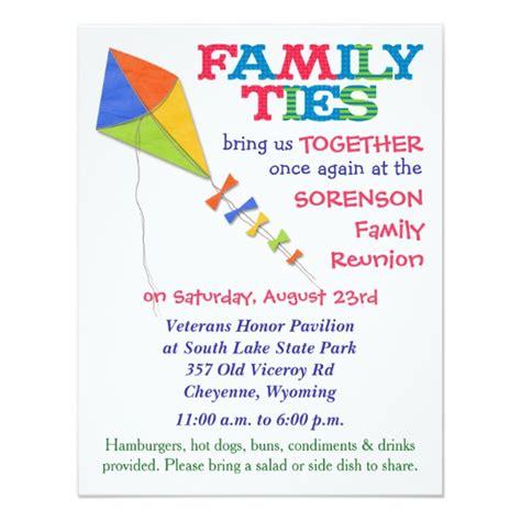 family reunion invitation card templates family ties kite family reunion invitation zazzle