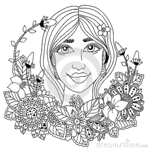 z coloring book for and adults 40 illustrations books vector illustration zentangl with flowers in hair