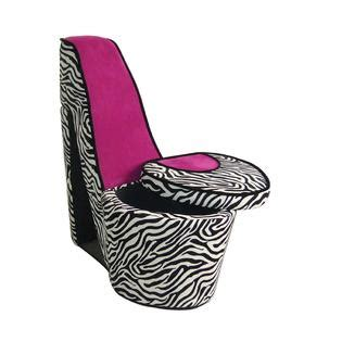 ore international pink zebra prints high heel storage chair