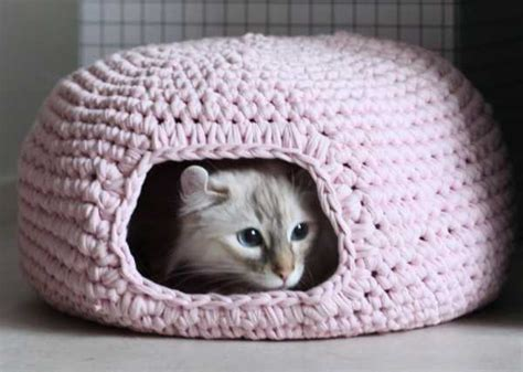 free crochet pattern cat bed cute and cuddle crochet cat cave