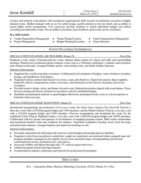 Catering Event Planning Resume by Creative Event Planner Resume Sle Recentresumes