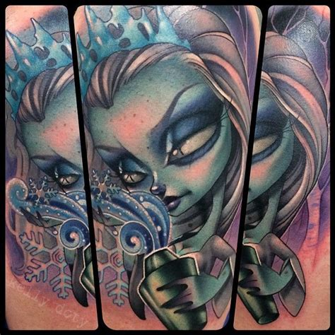 new school vs traditional tattoo snow queen by tattoo artist kelly doty of salem