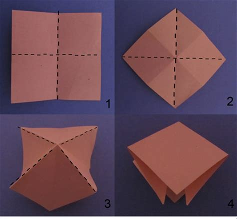 Folded Square Origami - how to fold a cherry blossom or flower