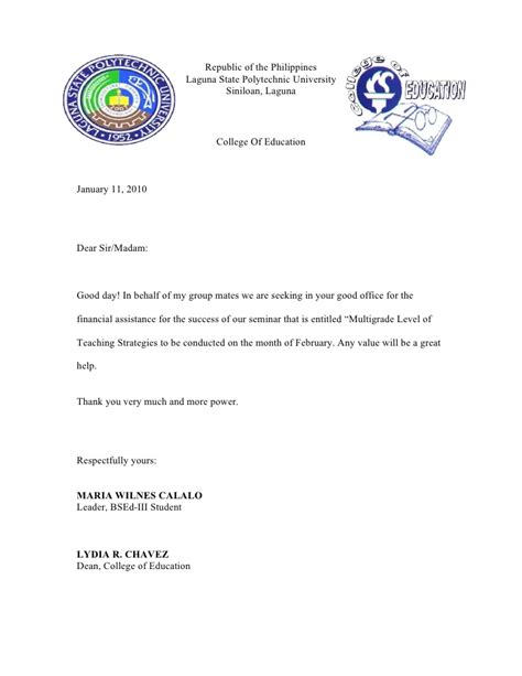 Financial Assistance Letter Tagalog Solicitation Letter