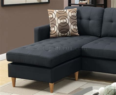 Black Fabric Sectional Sofa F7084 Reversible Sectional Sofa In Black Fabric By