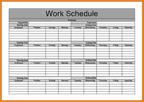 Monthly Work Schedule Template Formal A Helendearest Creating A Work Schedule Template