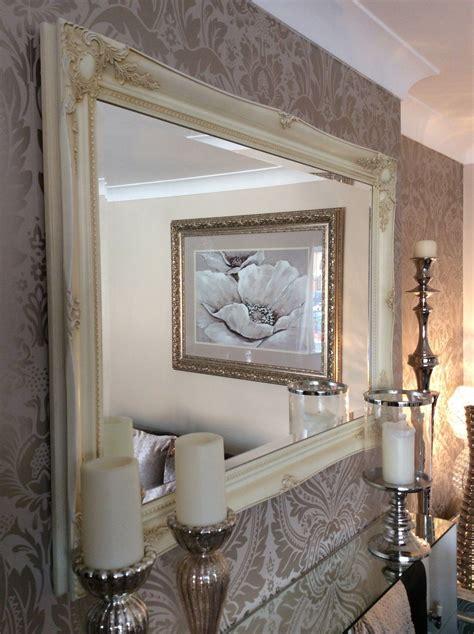 huge cream shabby chic framed ornate wall overmantle