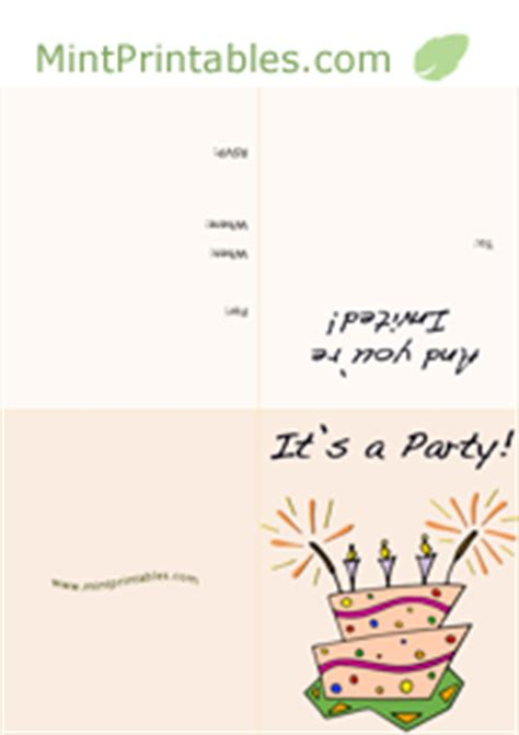 free printable birthday invitations quarter fold free printable birthday party invitations